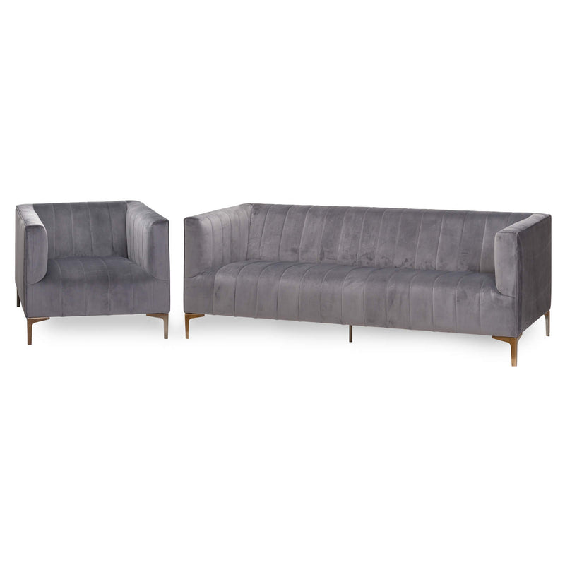 Leda Grey Velvet Three Seater Sofa-I Love Retro