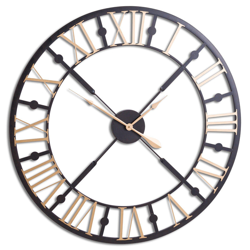 Smithy Black and Gold Large Skeleton Wall Clock-I Love Retro