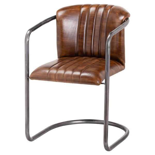 Roddo Leather Arm Dining Chair-I Love Retro