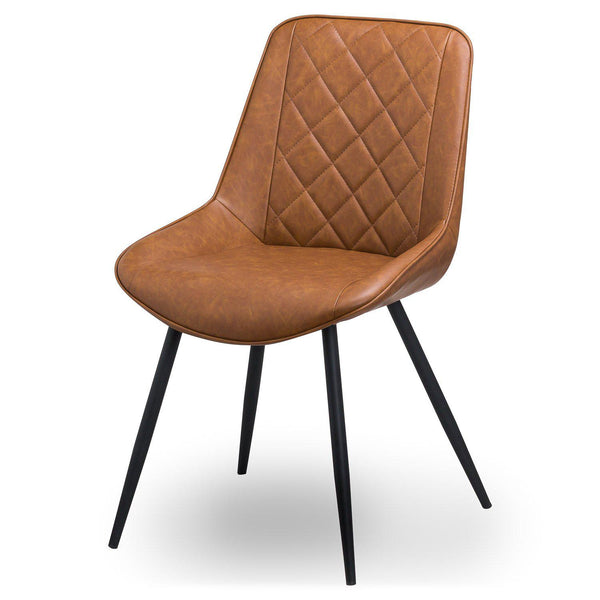 Varnik Tan Leather Dining Chair-I Love Retro
