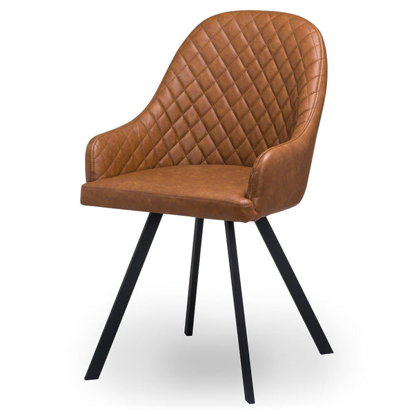 Oslo Tan Check Dining Chair-I Love Retro