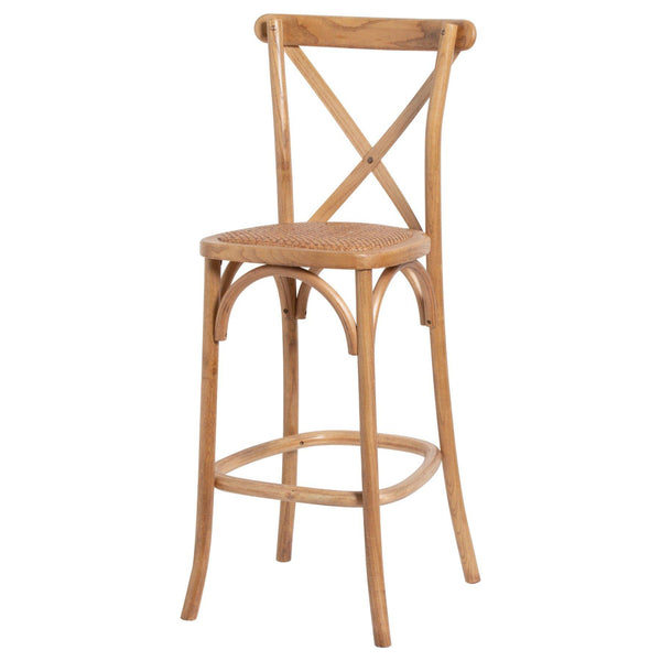 Wiren Solid Light Oak Cross Back Bar Stool