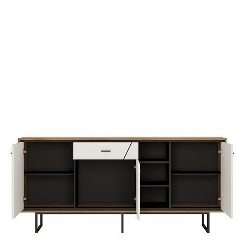 Domino Three Door One Drawer Wide Sideboard-I Love Retro