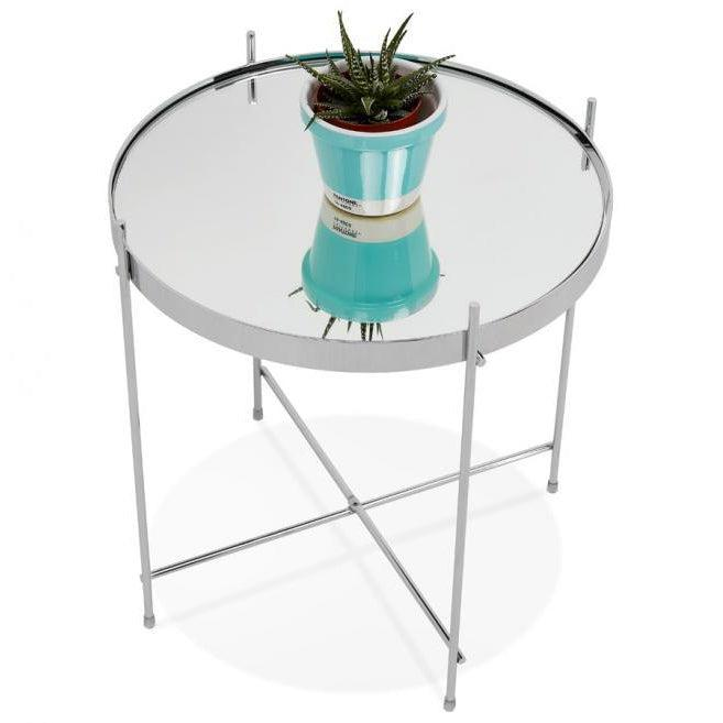 Layla Small Round Mirrored Side Table-I Love Retro