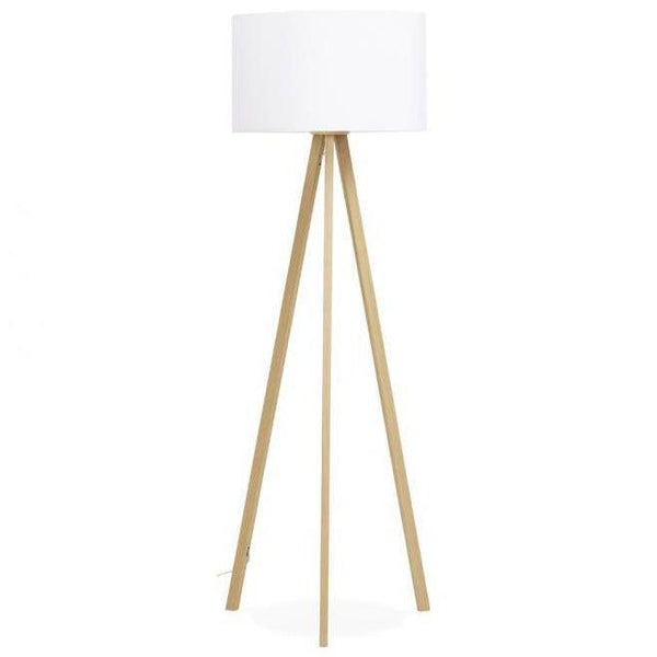 Vetell Oak Tripod Round Shade Floor Lamp-I Love Retro