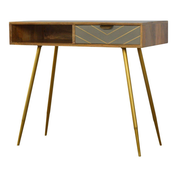 Hermione Grey Gold Writing Desk-I Love Retro