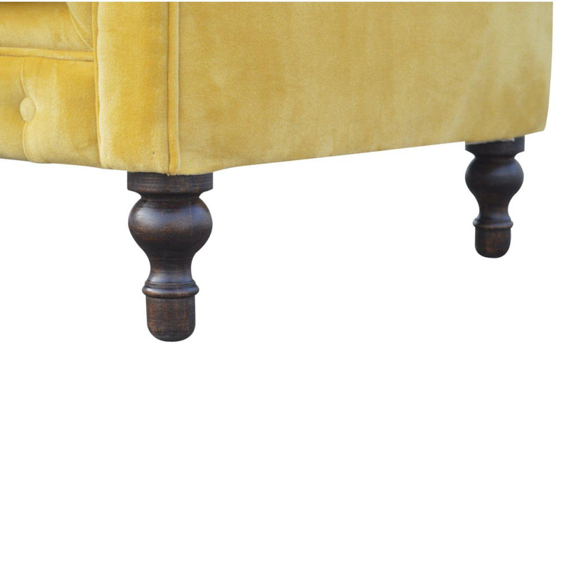 Madeleine Mustard Velvet Chesterfield Sofa-I Love Retro