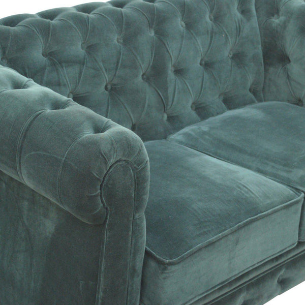 Madeleine Emerald Velvet Chesterfield Sofa-I Love Retro