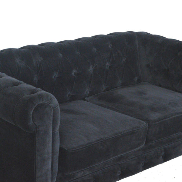 Madeleine Black Velvet Chesterfield Sofa-I Love Retro