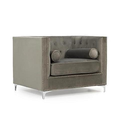 Hampshire Velvet Studded Box Armchair-I Love Retro