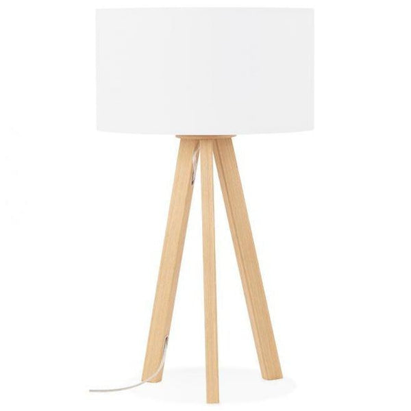 Vetell Oak Tripod Round Shade Table Lamp-I Love Retro