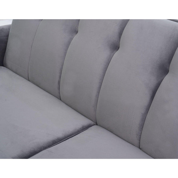 Simpla Grey Velvet Mid Century Two Seater Sofa-I Love Retro