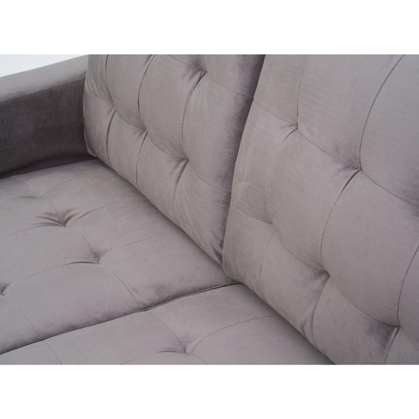 Monika Grey Velvet Three Seater Sofa-I Love Retro