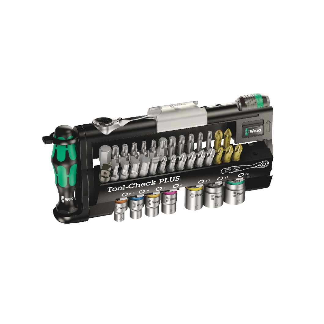 WERA Tool-Check PLUS, Bits assortment with ratchet + sockets