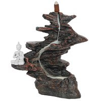 25cm Buddha on rocks backflow incense cone burner