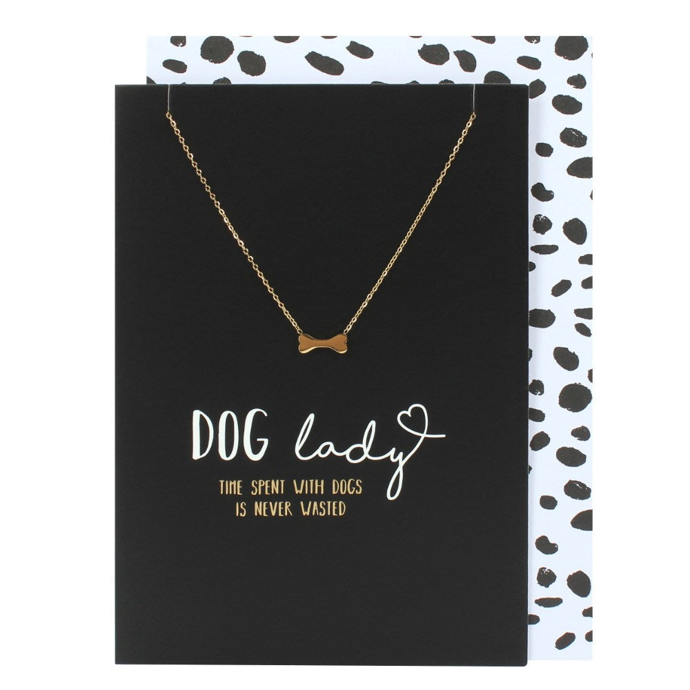 Dog lady card with gift bone necklace