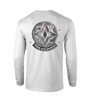 Open image in slideshow, Long sleeved white Psyops Eye top with logo on the back