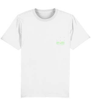 White Cotton T-shirt with The Land Between The Seas Logo on the Right in Green Text