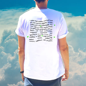 Open image in slideshow, The Land Between The Seas White T Shirt with Political Quote on the back