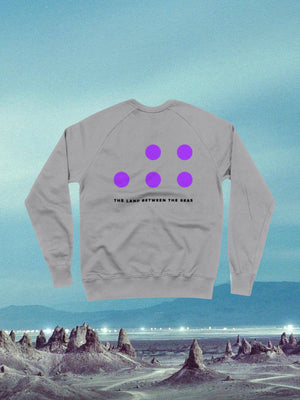 Open image in slideshow, The Land Between The Seas Grey Swearshirt with purple dots on the back