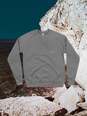 The Land Between The Seas Grey Sweatshirt with The Land Between The Seas logo on the top right