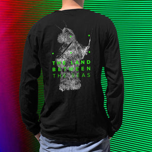The Land Between The Seas Shaman long sleeved black t-shirt with TLBTS written in green