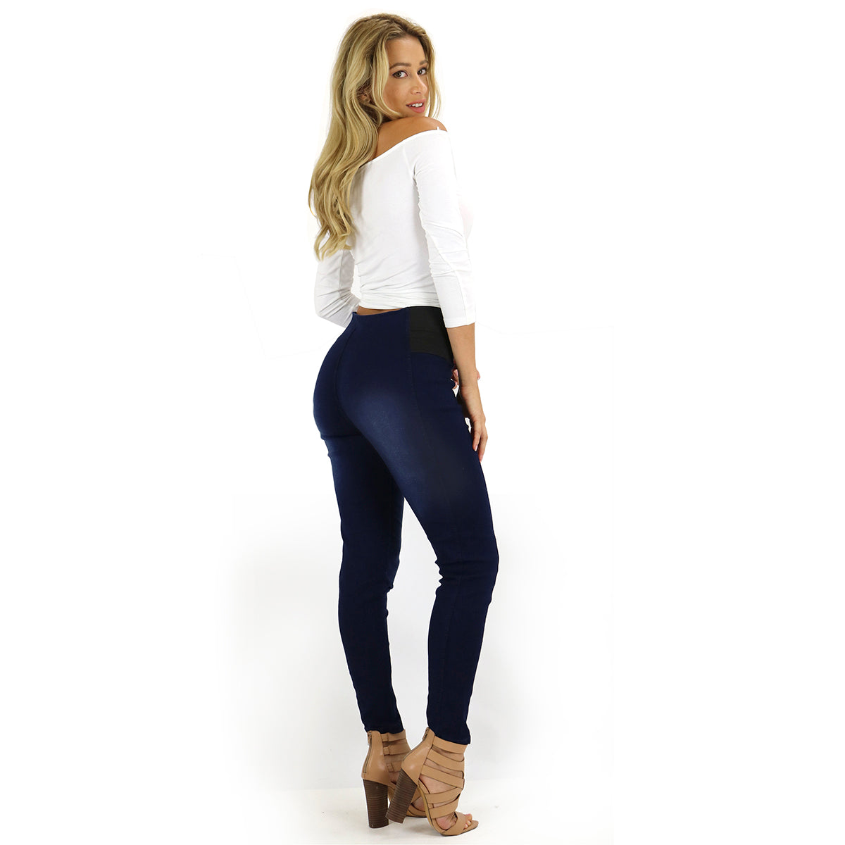 Essential Waist Control Black Denim Stretch Pants