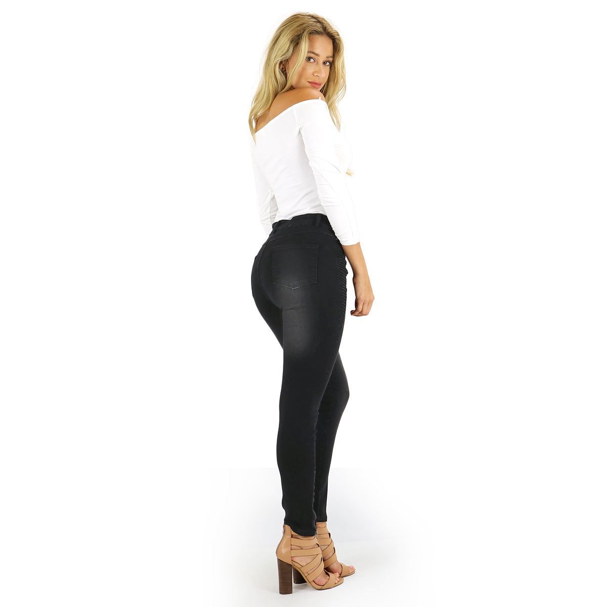 Black Motto Jeggings with Zipper Accents