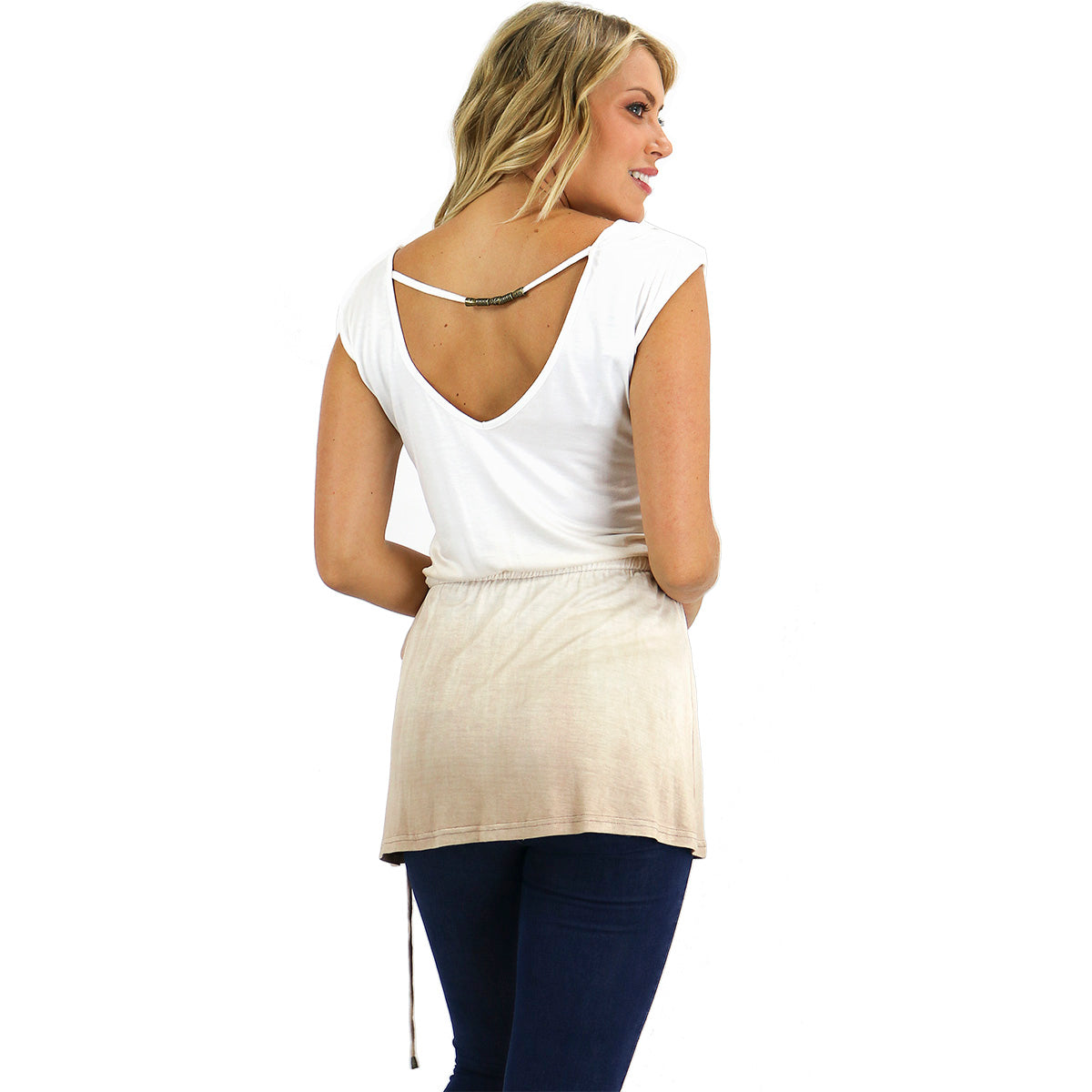 Ombre Open Back Tunic Top
