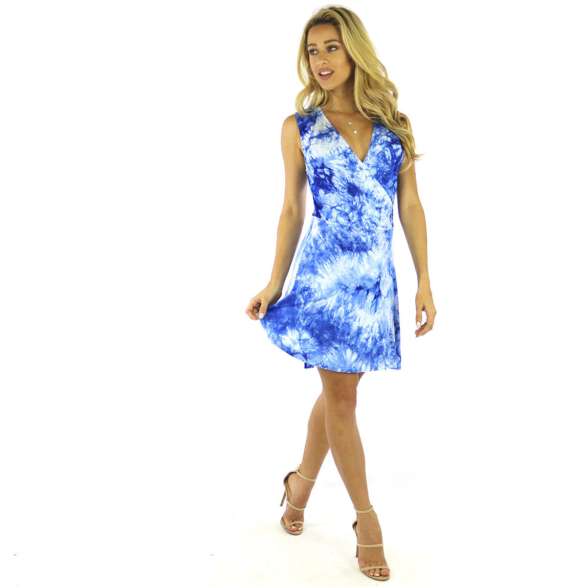 Blue TieDye Wrap Jersey Dress