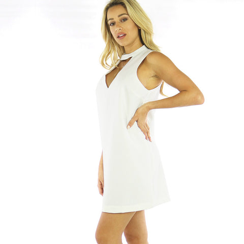 White Chocker Shift Dress