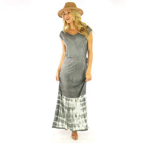 Blouson Grey Maxi Dress