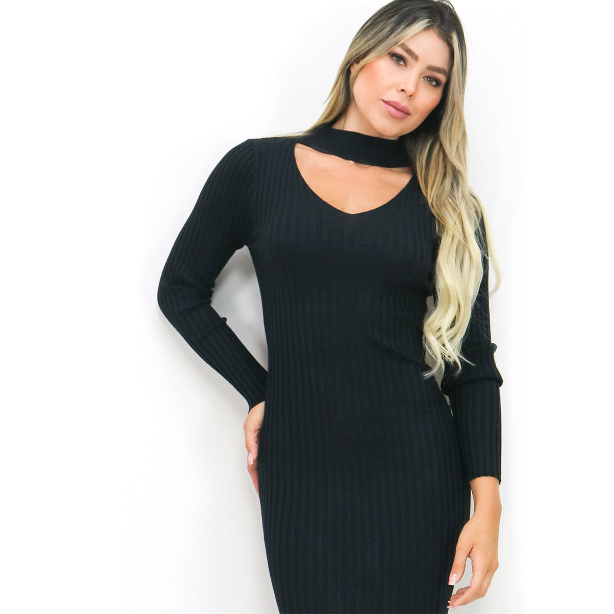 Black Chocker Ribbed Midi Sweater Dress