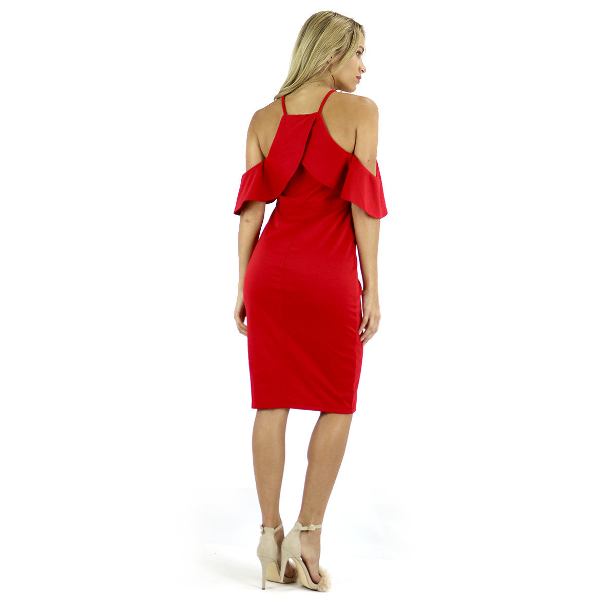 Red Ruffles Midi Dress