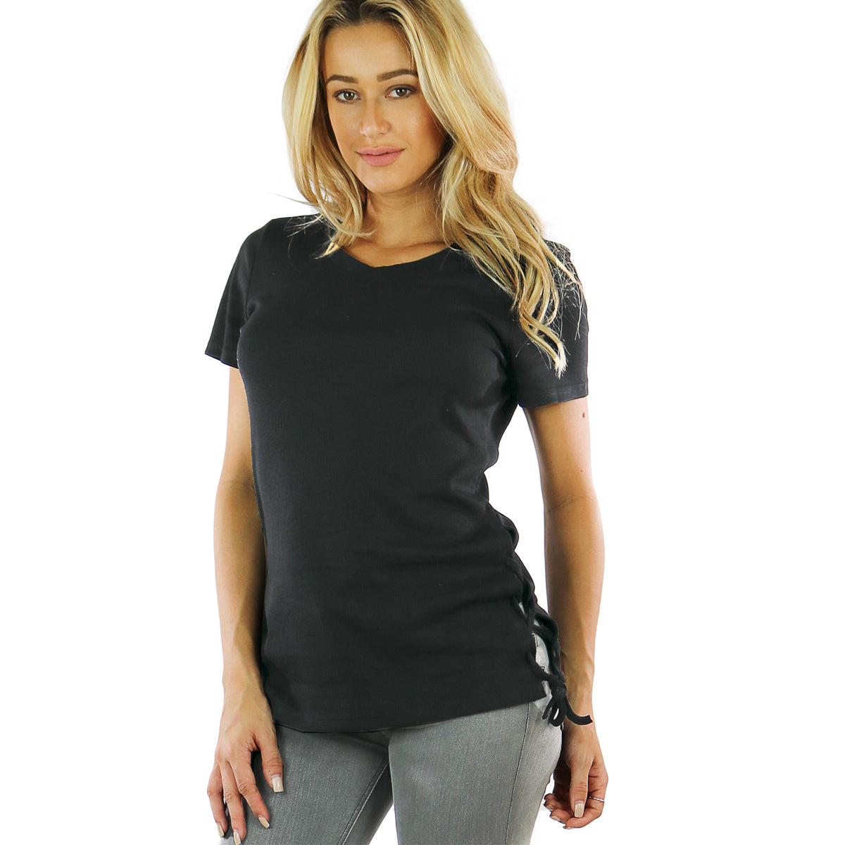 Ribbed Side Lace Black T Shirt
