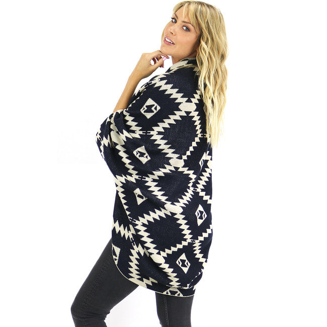 Aztec Black Print Shrug