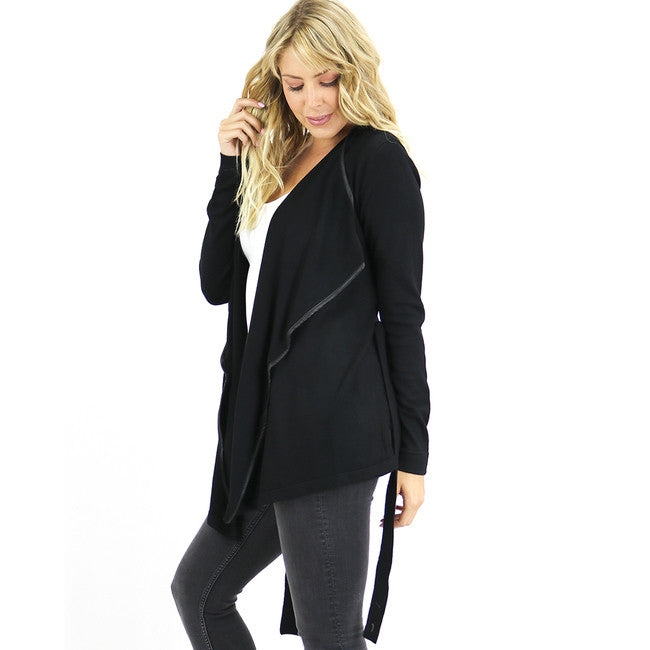 Faux-Leather Trim Wrap Black Sweater