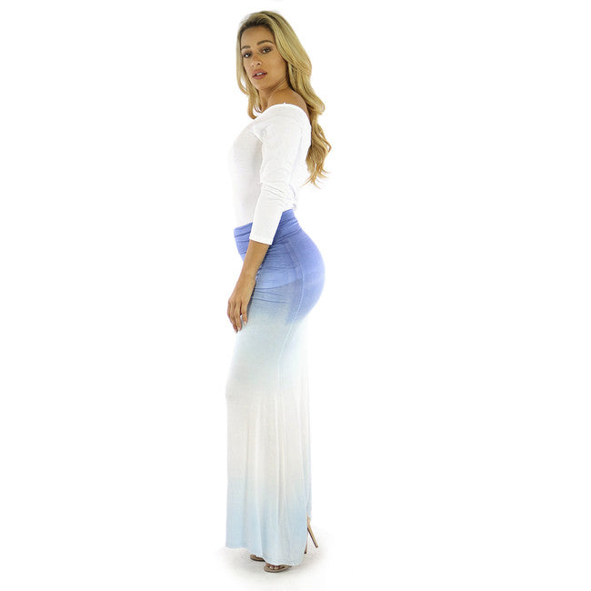 Light Blue Ombre Stretch Maxi Skirt