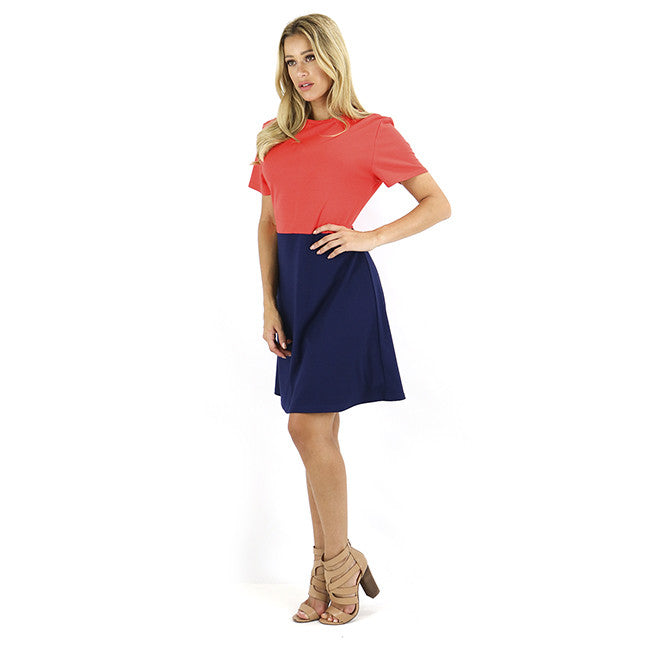 Navy & Orange Color Block Ponte Dress