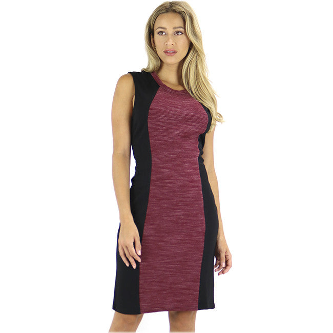 Black and Raspberry Color Block Sheath Dress