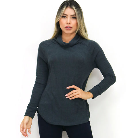 Dark Blue Cowl Neck Ribbed Sweater