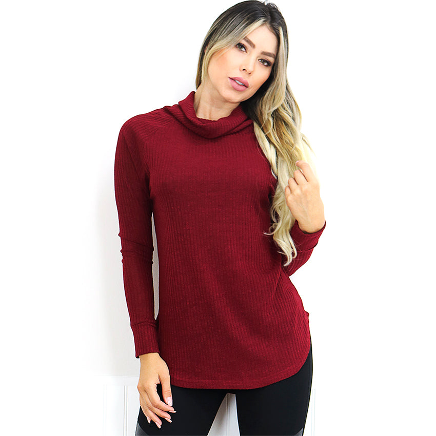 Cowl Neck Burgundy Ribbed Sweater