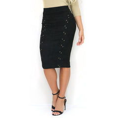 Faux Sude Black Midi Lace Up Pencil Skirt