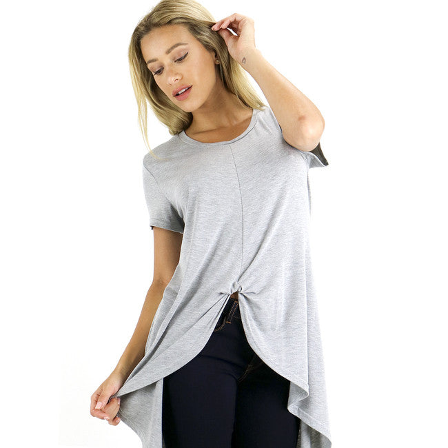 Heather Grey Front Twist Hi Low Tunic