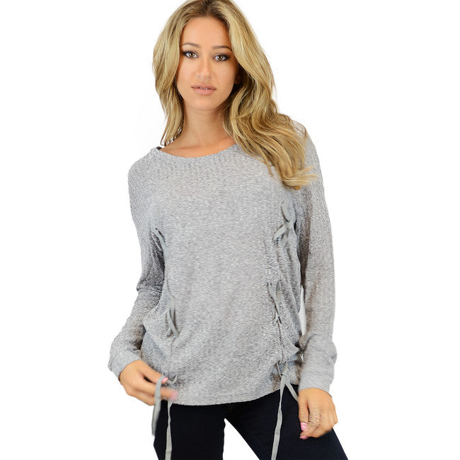 Grey Light Braided Accent Sweater