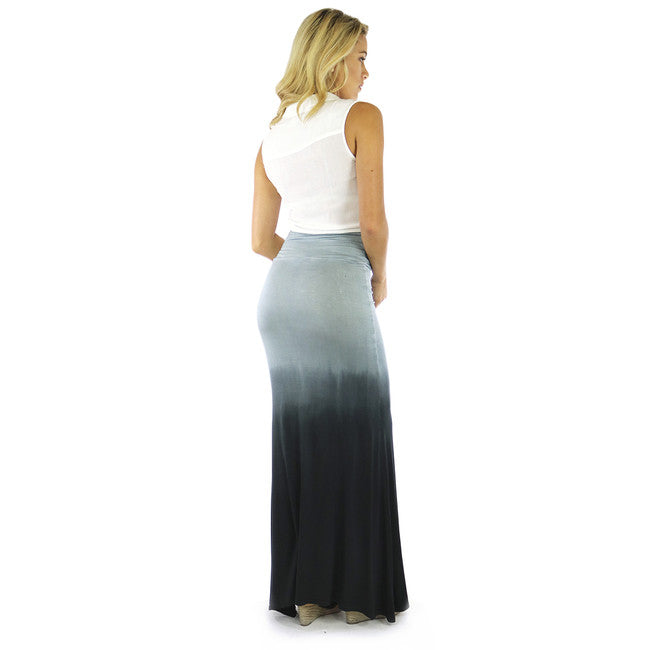 Ombre Grey Stretch Maxi Skirt