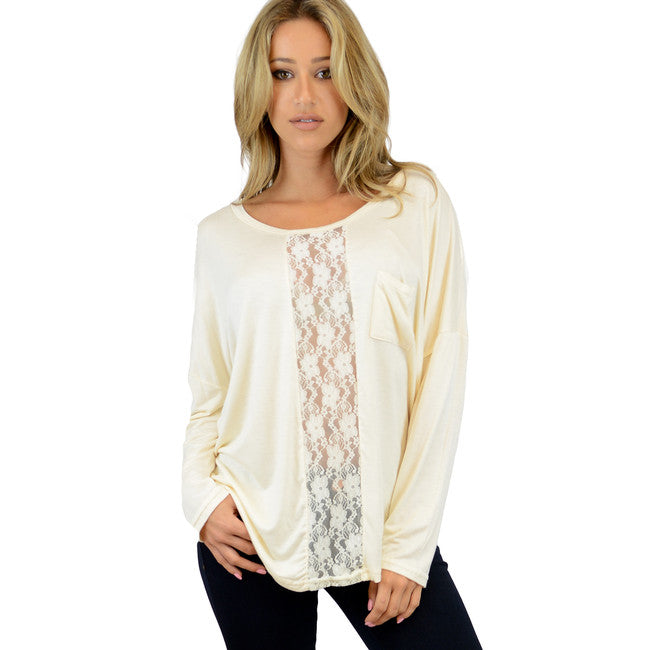 Heather Grey Lace Insert Long Sleeve top