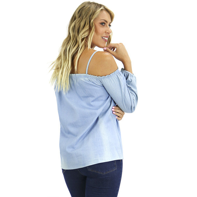 Light Chambray Peasant Cold Shoulder Top