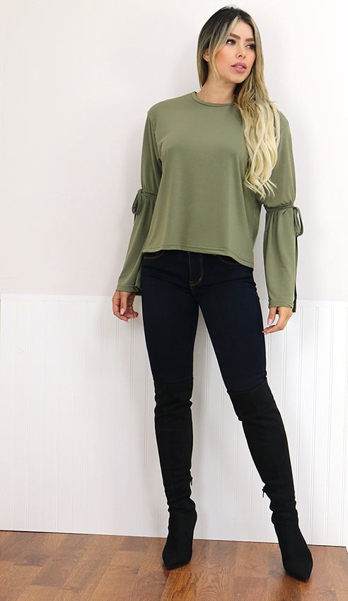 Black  Bell Sleeve Top with Tie Accent