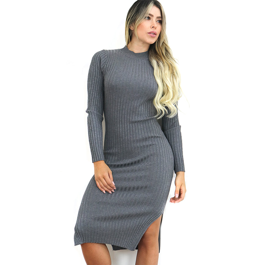 High Neckline Dress with Sleeves